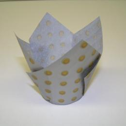 TBK Silver with Gold Polka Dots Tulip Cups
